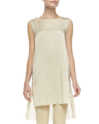 Sleeveless Stacked-Hem Tunic