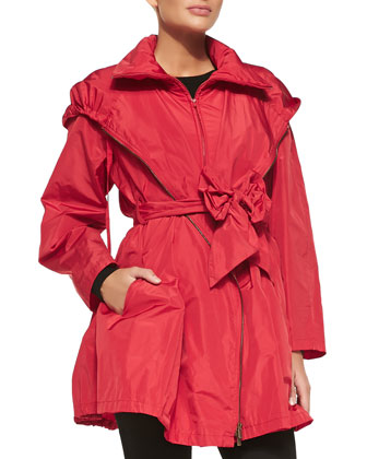 Packable Front-Zip Anorak w/ Bow Belt