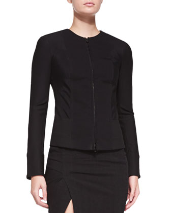 Collarless Zip-Front Jacket
