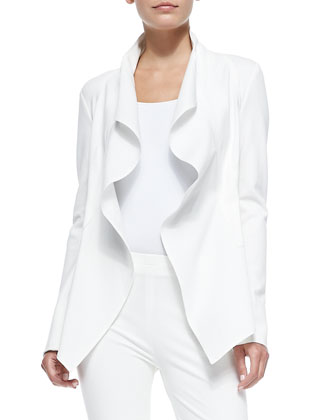 Draped Ruffle Jacket with Self Belt & Pull-On Poplin-Front Pants
