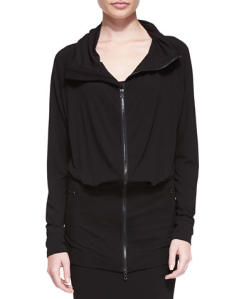 Long Blouson-Front Zip Cardigan