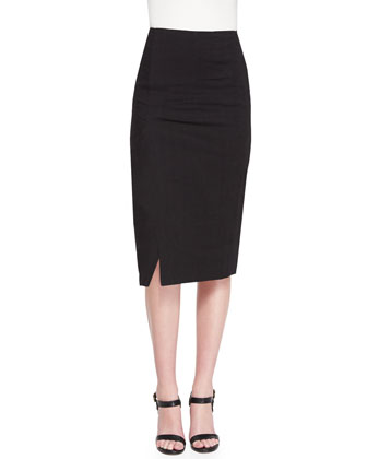 Straight Midi Skirt w/ Side Slit