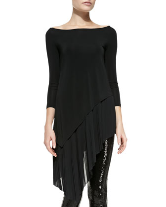 3/4-Sleeve Asymmetric-Hem Tunic