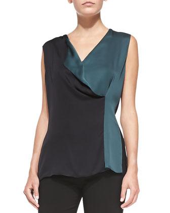 Faux-Wrap Bicolor Silk Blouse