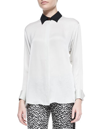 Long-Sleeve Silk Blouse with Contrast Collar