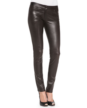 Front-Zip Leather Pants, Dark Brown