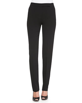 Front-Zip Narrow-Leg Pants, Black