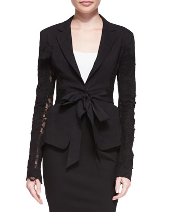 Lace-Detail Belted Blazer and Slit-Hem Scissor Skirt