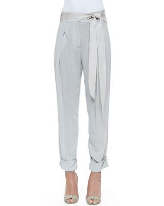 Cashmere Oversized Boat-Neck Sweater & Pleated Cuffed Sash-Belt Pants