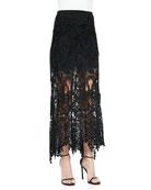 A-Line Macrame Skirt, Black