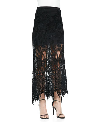 Grosgrain-Belted Lace Jacket & A-Line Macrame Skirt