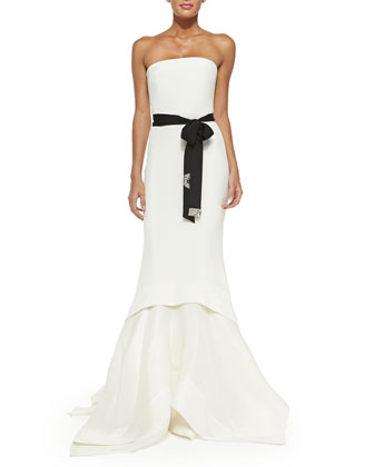 Strapless Belted Mermaid Gown