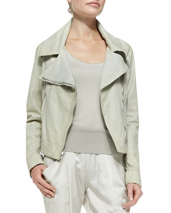 Asymmetric-Zip Leather Jacket, Scoop-Neck Tank Tunic & Ribbed-Trim Ankle Pants