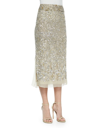 Embroidered Midi Skirt, Parchment/Platinum
