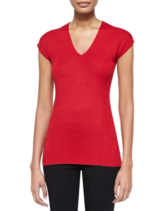 Cap-Sleeve V Neck Top, Real Red