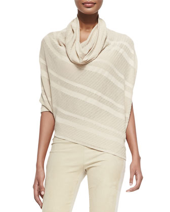 Striped Asymmetric Cowl-Neck Sweater & Suede-Front Paneled Pants