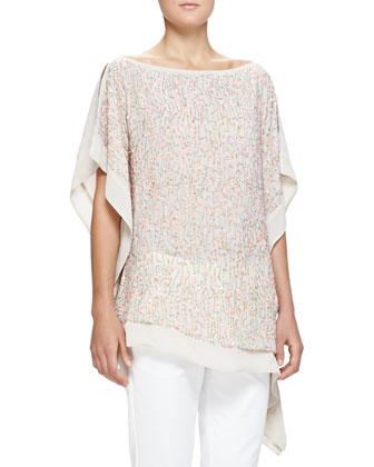 Beaded Chiffon Scarf Top