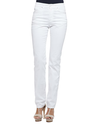 Brushed Cotton 5-Pocket Slim Fit Jeans, White
