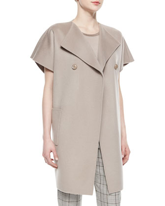 Double-Faced Wool-Cashmere Cocoon Jacket, Cap-Sleeve Satin-Trim Top & ...