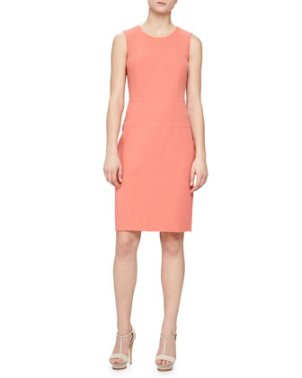 Seamed Double Crepe Dress, Nasturtium
