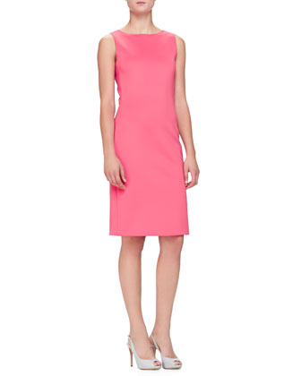 Sleeveless Neoprene Jersey Dress, Geranium
