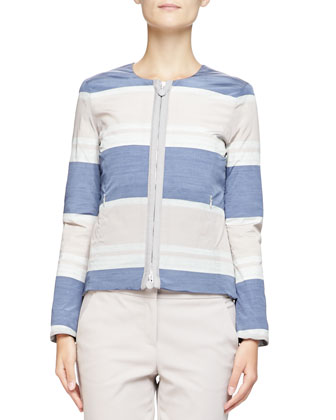 Striped Taffeta Zip Jacket, Stretch Jersey Tank & Stretch Cotton ...