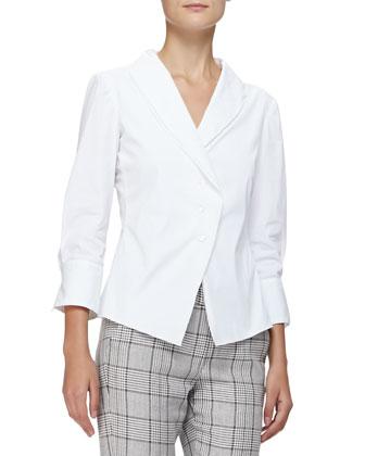 3/4-Sleeve Shawl-Collar Blouse, White