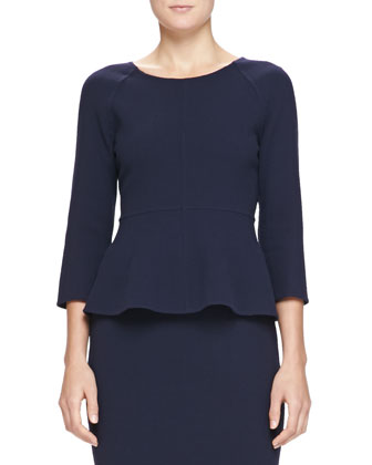 3/4-Sleeve Double-Crepe Back-Zip Top, Navy