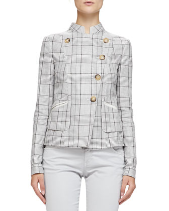Prince of Wales Mandarin-Collared Jacket, Hazelnut