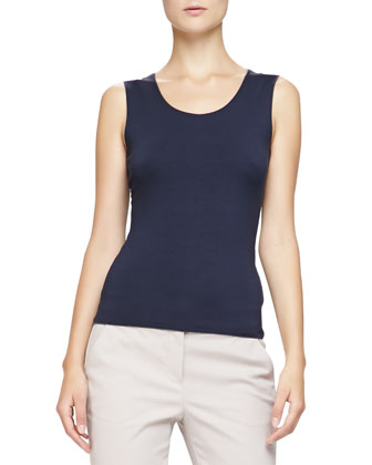 Stretch Jersey Tank, Navy