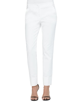 Stretch Cotton Wide-Cuffed Slim Pants, Milk