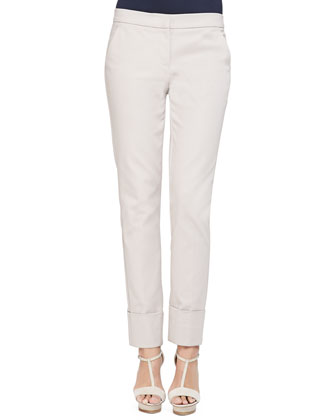Stretch Cotton Wide-Cuffed Slim Pants, Almond