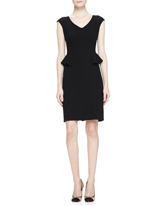 Cap-Sleeve V-Neck Peplum Dress, Black