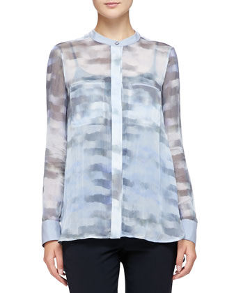 Jewel-Neck Woven Leather Jacket, Cumulus-Print Chiffon Tunic & Cropped ...