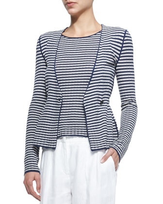 Striped Double-Breasted Knit Cardigan, Striped Cap-Sleeve Knit Top & Linen ...