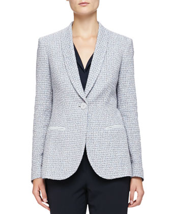 Shawl-Lapel 1-Button Boucle Jacket, Sleeveless Collared Charmeuse Blouse & ...