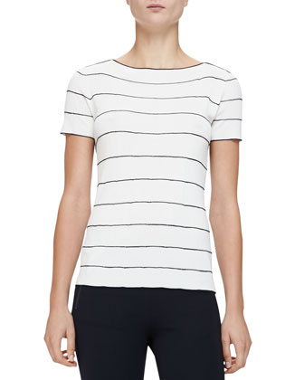 Short-Sleeve Boat-Neck Striped Top, Milk