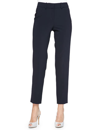 Cropped Straight-Leg Pants, Navy