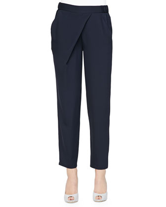 Asymmetric-Draped Charmeuse Pants, Navy