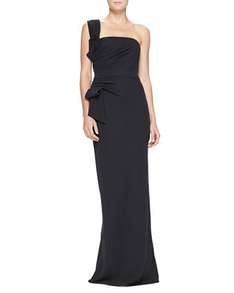 One-Shoulder Side-Ruched Demi Corset Gown