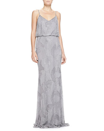 Beaded-Shell Blouson Slip Gown