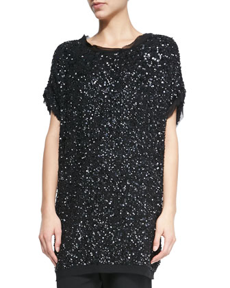 Cap-Sleeve Tunic with Embroidered Paillettes & Stretch Leather Leggings