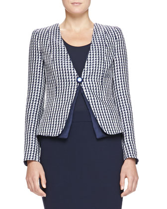 Collarless Geometric Jacquard Jacket