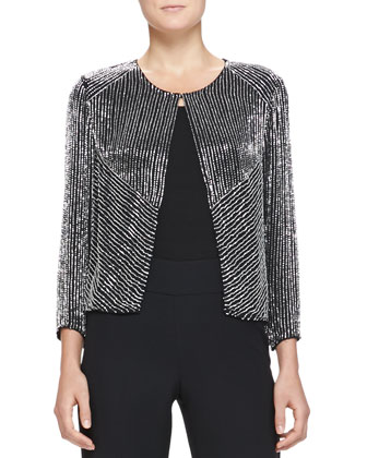 3/4-Sleeve Collarless Chevron-Beaded Jacket