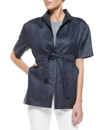Mandarin-Collar Basketweave Caban Coat & Jersey Stripe Tee