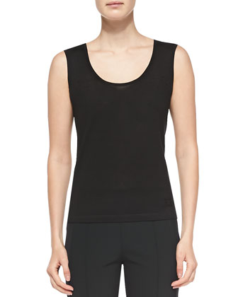 Sleeveless Wool-Silk Shell, Black