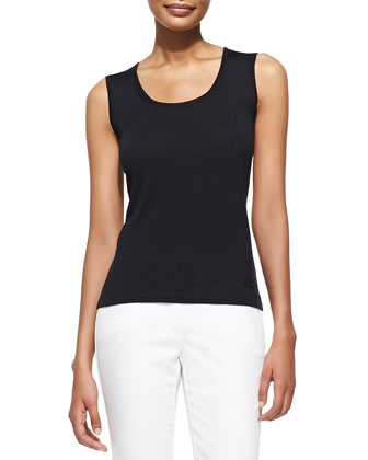 Sleeveless Scoop-Neck Shell
