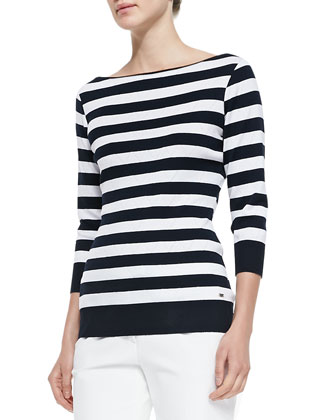 3/4-Sleeve Striped Perforated-Knit Top