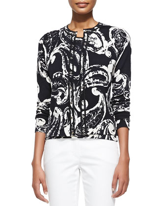 Button-Front Paisley-Print Cardigan, Paisley Round-Neck Shell & Slim ...