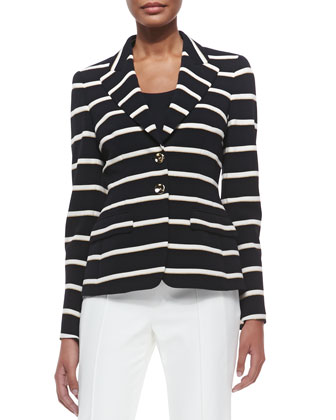 Striped Two-Button Blazer